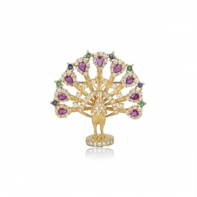 18k Yellow Gold Multi Gem Peacock Brooch